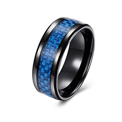 Adisaer - acero inoxidable anillos negro anillo cuadrado de ...