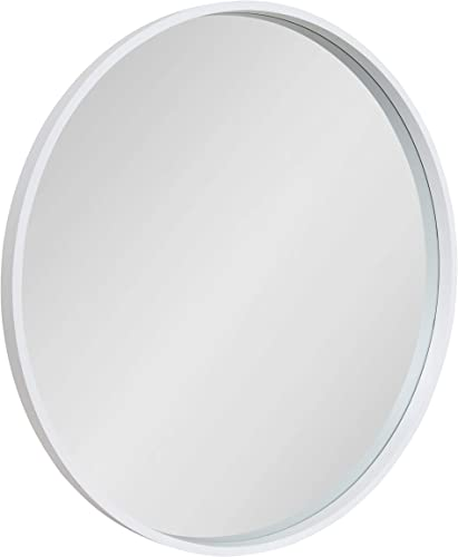 Kate and Laurel Travis Round Wood Wall Mirror, 31.5 Diameter, White, Modern Wall D cor Accent