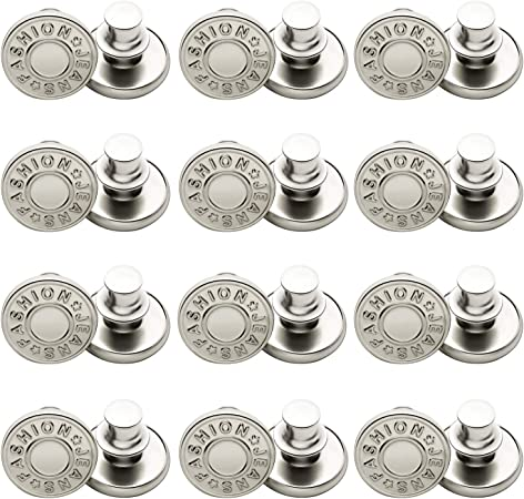 24 Sets Button Pins for Jeans 17mm Replacement Jean Buttons No Sew Instant Metal Button Detachable Jean Button Pins Extend or Reduce Any Pants Waist Size