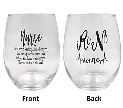 bd9122d195a Nurse Gift Nurse Definition Wine Glass Bundle with Silicone Wine Glass  Cover/Coaster 21 Ounce