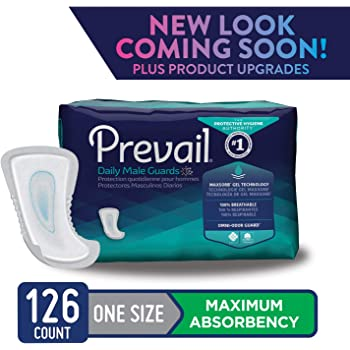Prevail Maximum Absorbency Incontinence Male Guards, One Size, 14-Count (Pack of 9)