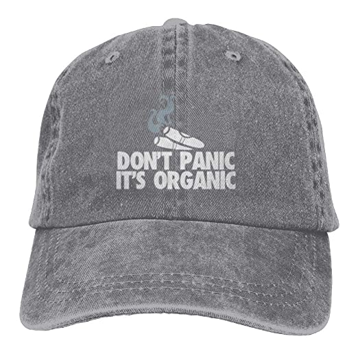 97003b16ae9 BESTHAT Don t Panic It s Organic Smoking Adjustable Men Women Baseball Cap  Washed Cotton Plain Hat at Amazon Men s Clothing store