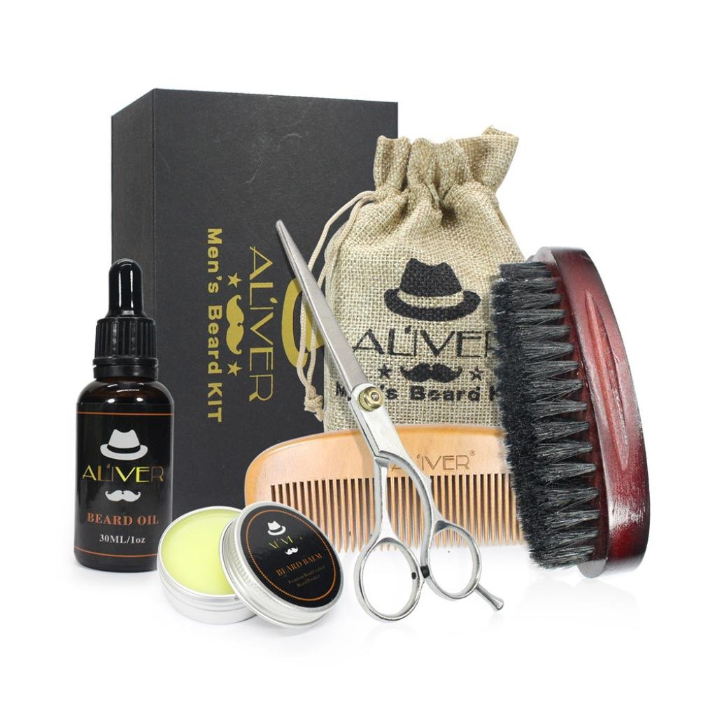 Beard Grooming & Trimming Kit for Men Care - Beard Fluid, Beard Wax, Comb, Brush and Scissors Strength Nourish Combination for Shaping & Styling by Alonea (Multicolor)