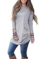 Kilig Women's Long Sleeve Round Neck Patchwork Casual Loose Tunic Sweatshirt Tops