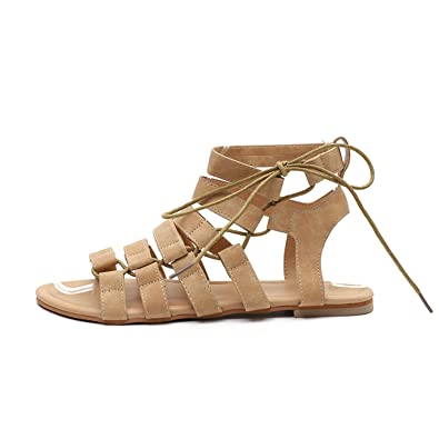 6f168c75b1d012 Brooklyn Walk Gladiator Summer Sandals Plus Size Women Flat Shoes for Female  Lace up Casual Ankle Strap Sandal for Ladies Shoe  Amazon.in  Shoes    Handbags