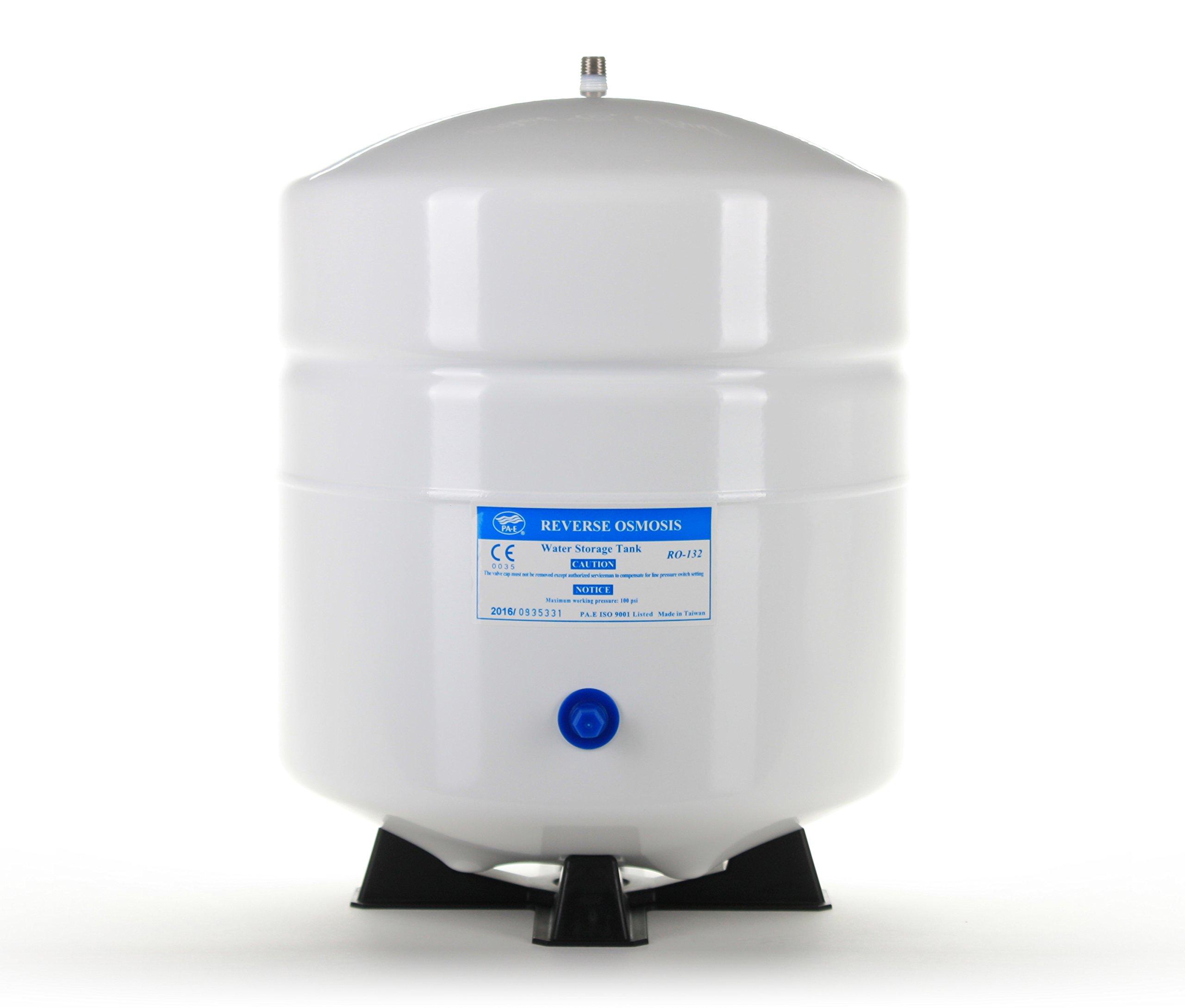 Hydronix RO-132-W14 Stainless Steel 4.5 Gallon Reverse Osmosis Storage Water Tank - White, 1/4'' Port