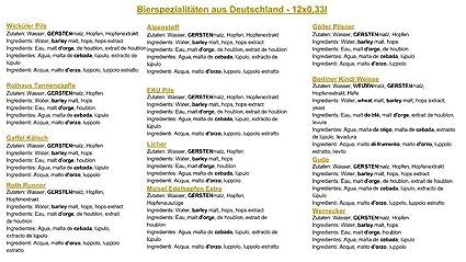 ... de Alemania (Las mejores cervezas alemanas) como un paquete de probar para regalar en caja de regalo 12 x 0,33l / regalo romántico de San Valentín para ...