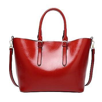 1638d8bc81e5b PB-SOAR Damen Vintage Elegant Henkeltasche Schultertasche Ledertasche  Shopper Umhängetasche Handtasche (Rot)