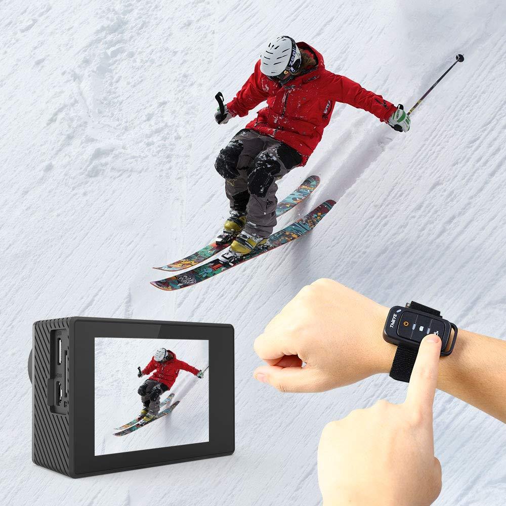Videoc/ámara de Accion de 60M Sumergible 64G tarjeta de memoria y Kit de Montaje ThiEYE C/ámara Deportiva 4K//60fps Ultra HD WiFi 20MP Control Remoto EIS,2 bater/ías Recargables Gran Angular de 170 /°