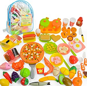 JoyGrow 70 PCS Cutting Toys Pretend Food Toys Fruits Vegetable Fast Food Sushi Slicing Play Food Educational Toys Food Set with Backpack Storage (Blue)