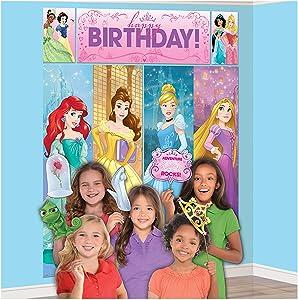 "amscan Disney Princess Dream Big Birthday Party Scene Setters Wall Decorating Kit (5 Piece), Multicolor, 59"" x 65"""