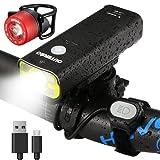 OUTERDO S-400R Fahrradlicht Set 400 Lumen mit Faden LED Scheinwerfer besteht aus Alulegierung inkl. ein Rücklicht wasserdichte u.wiederaufladbare Fahrradlampe 5 Licht-Modi mit langer Laufzeit StVZO