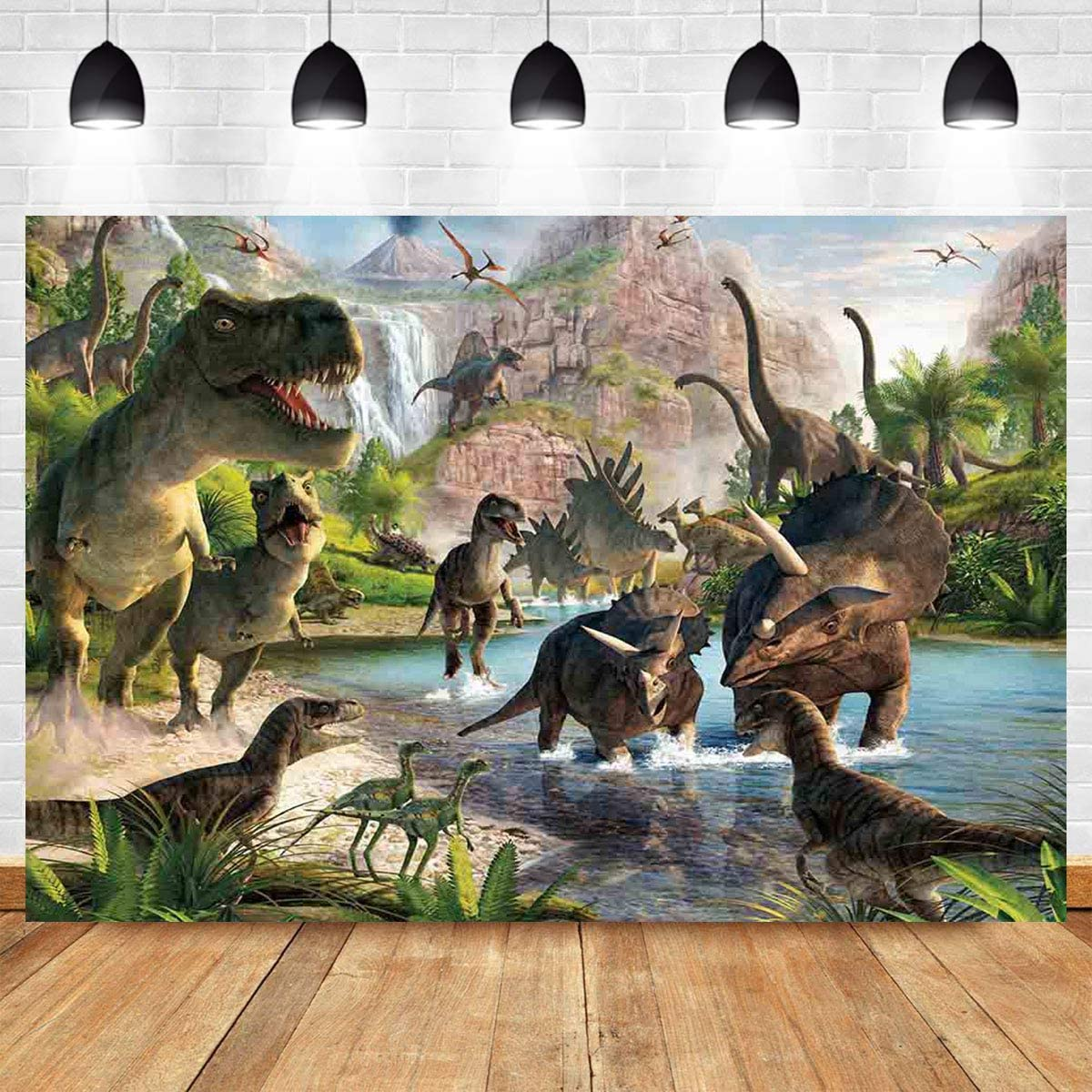 6x6FT Vinyl Backdrop Photographer,Jurassic,Pop Art Dinosaurs Walking Background for Party Home Decor Outdoorsy Theme Shoot Props