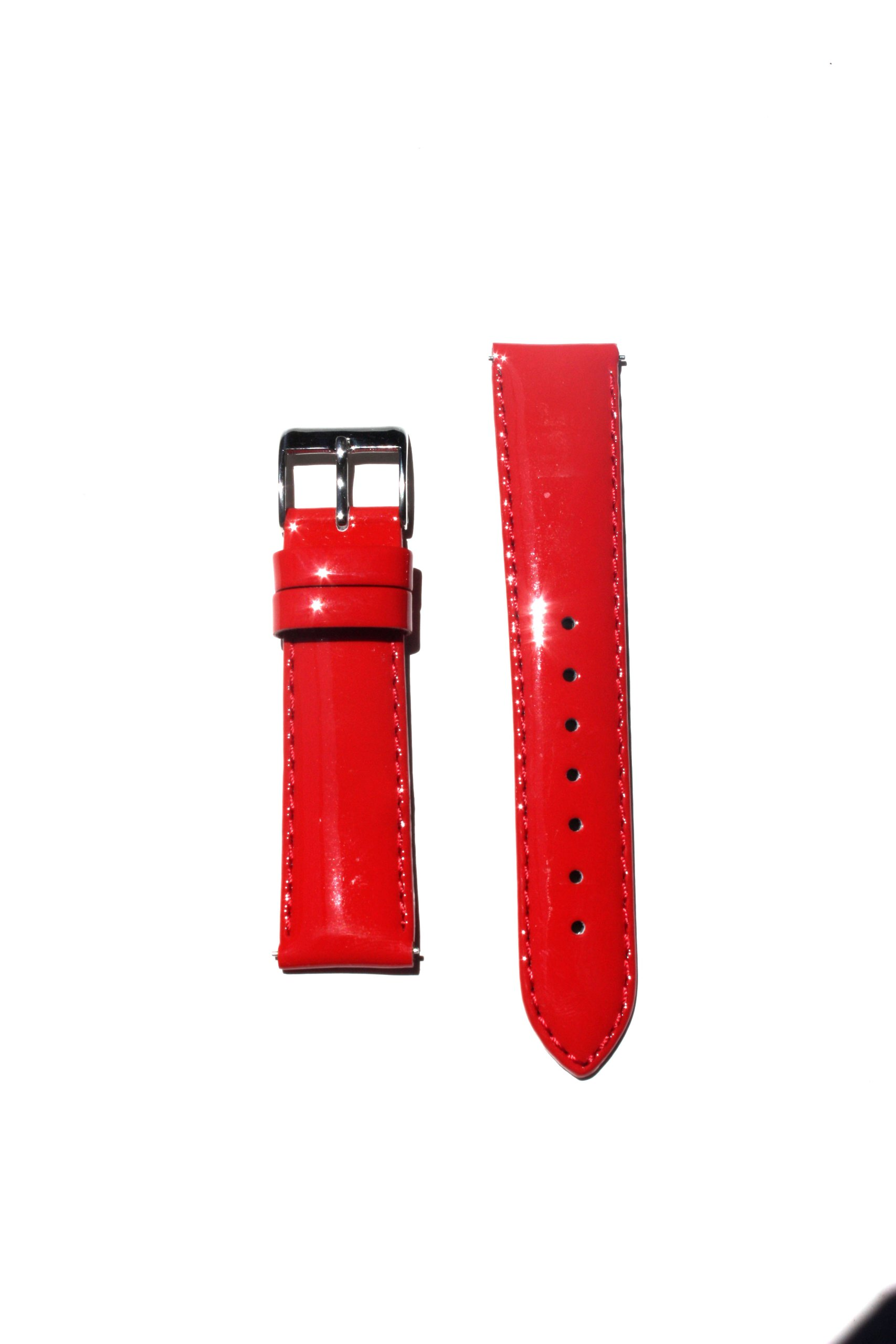 16mm Red Patent Leather Watchband with Quick Release Pins Michele Style