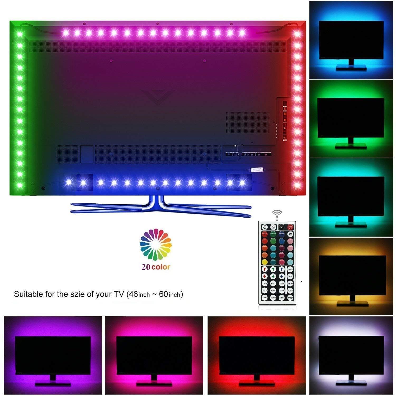 Topled Light LED TV USB Backlight Light Kit,Computer RGB LED Light Strip Mini Kit, Multicolor RGB LED Tape bias Lighting Strip Kit With Remote Controller(USB Backlight Kit)