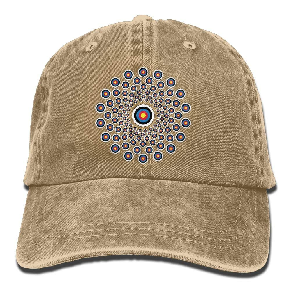 Vidmkeo Tiro con Arco Target Colorado Classic Unisex Gorra de b/éisbol Ajustable Lavado Te/ñido Sombrero de Bola Negro Design19