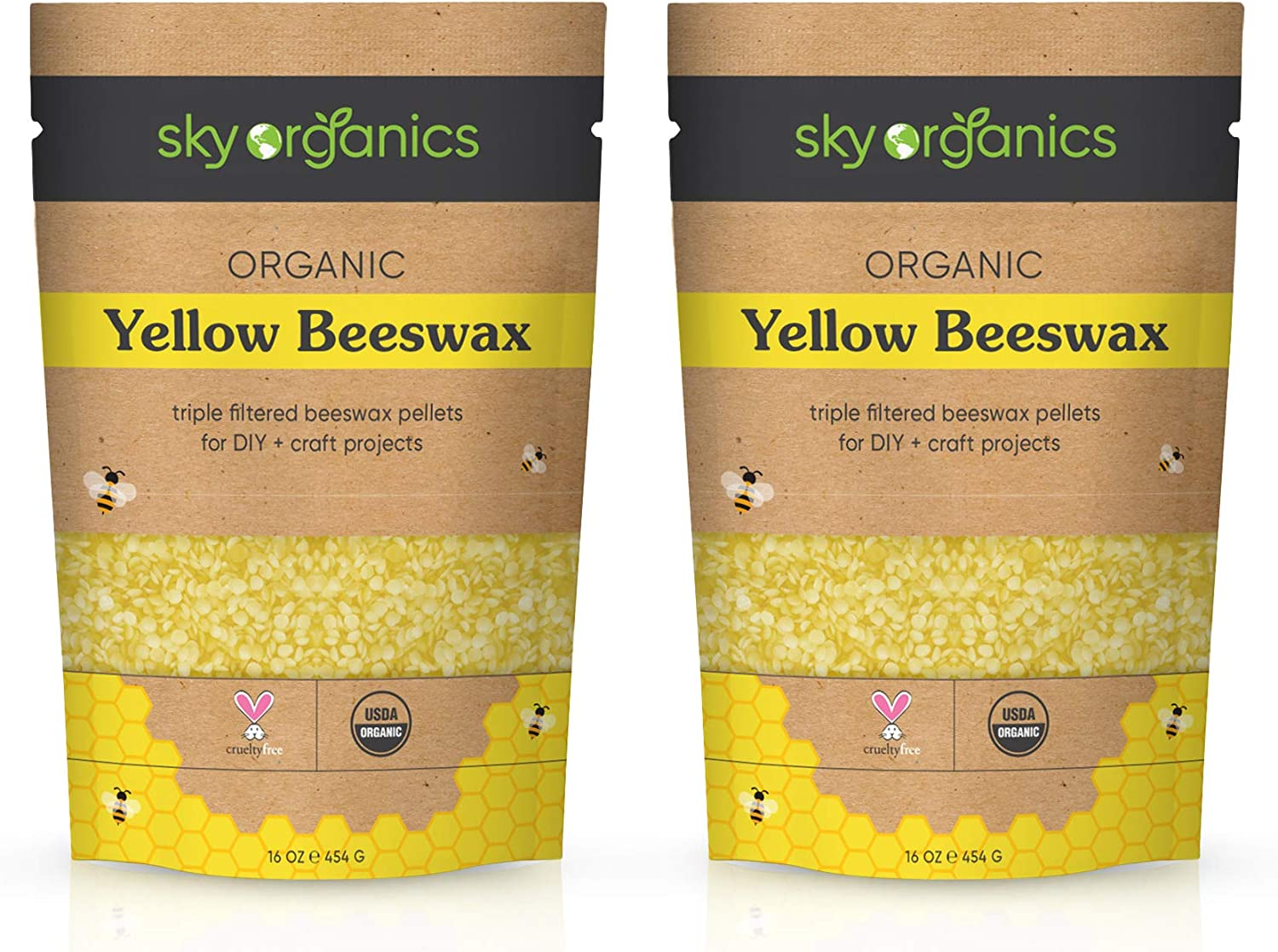 Sky Organics USDA Organic Yellow Beeswax Pellets (2lb) Pure Bees Wax No Toxic Pesticides or Chemicals - 3 x Filtered, Easy Melt Pastilles- for DIY, Candles, Skin Care, Lip Balm