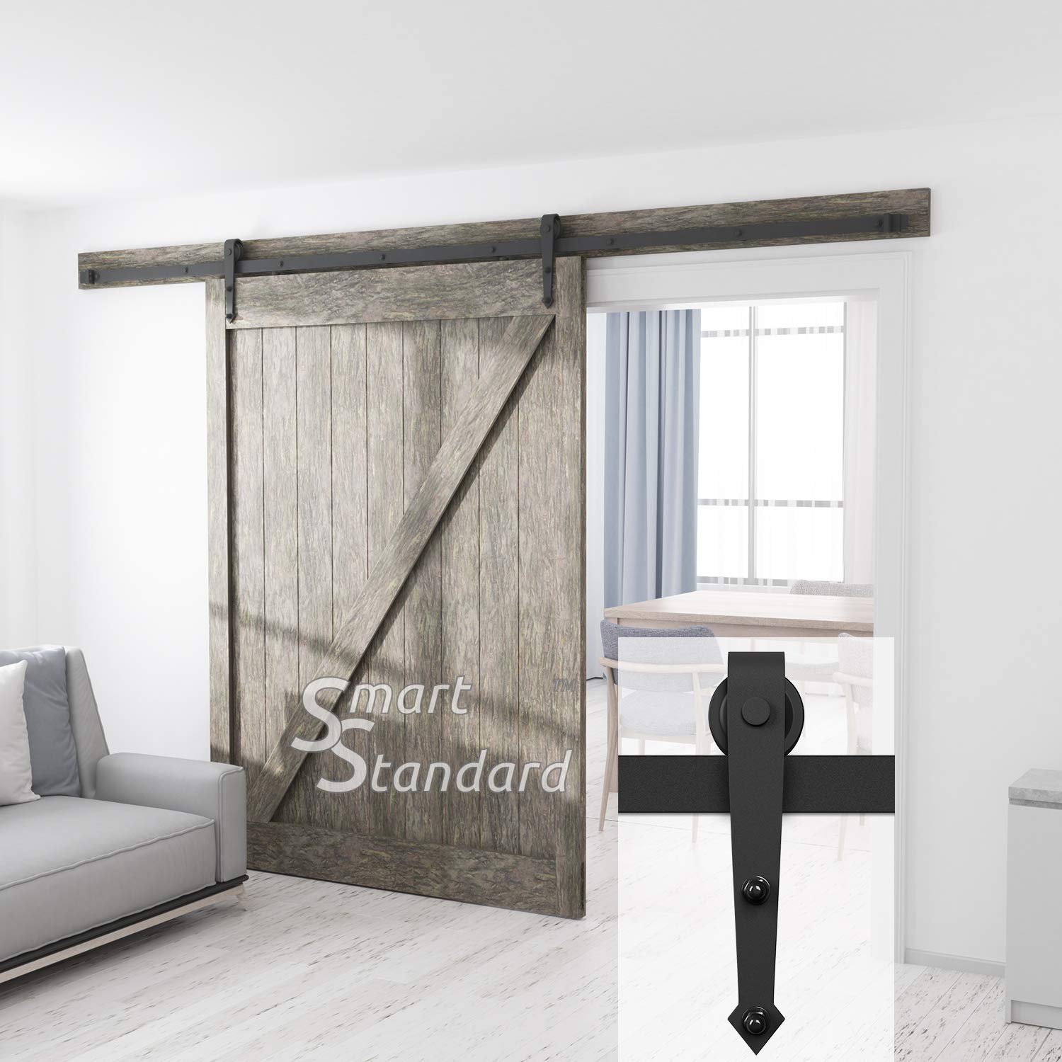 10ft Heavy Duty Sturdy Sliding Barn Door Hardware Kit - Super Smoothly and Quietly - Simple and Easy to Install - Includes Step-by-Step Installation Instruction -Fit 60'' Wide Door (Arrow Shape Hanger)
