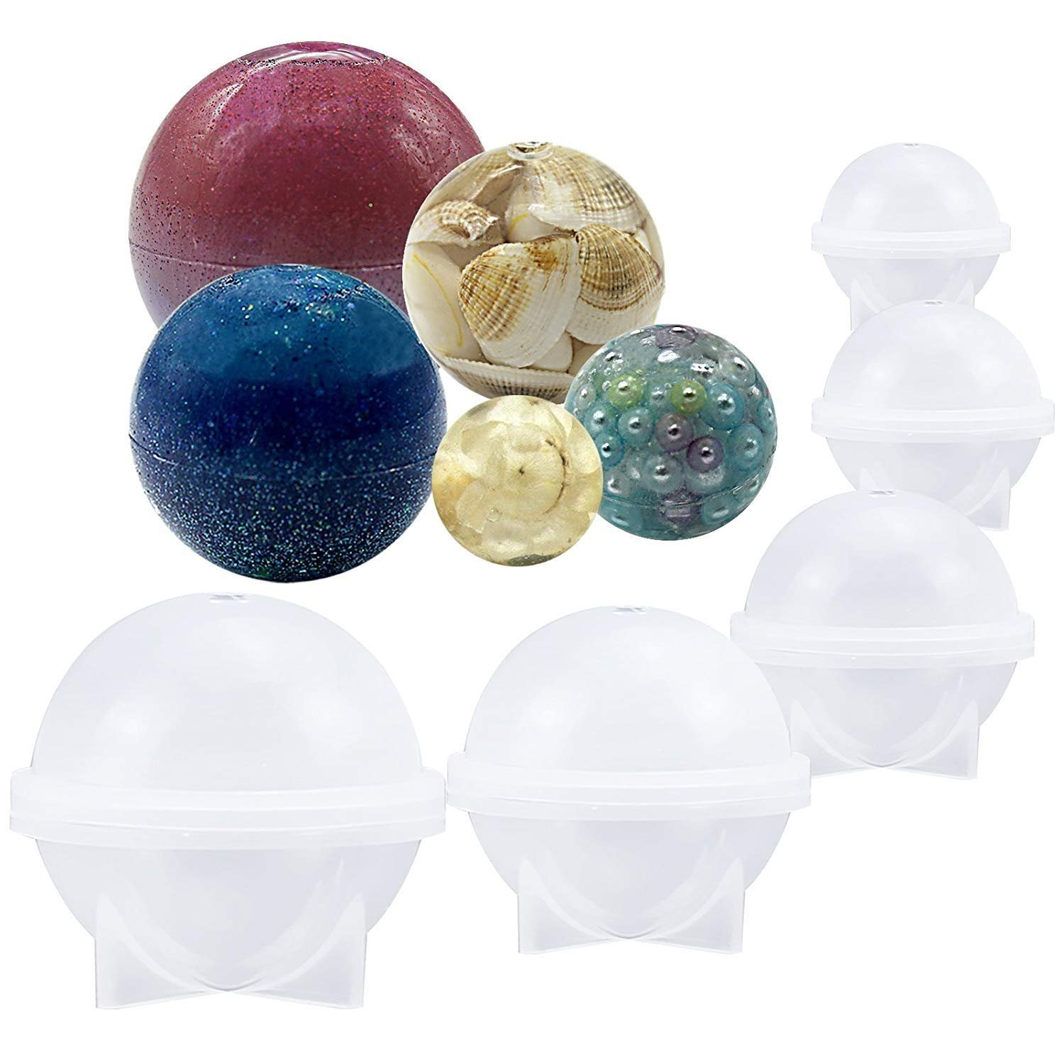 5Pcs/Set Ball Orb Sphere Paperweight Silicone Mold, for Polymer Clay, Crafting, Resin Epoxy, Jewelry Making Somtis