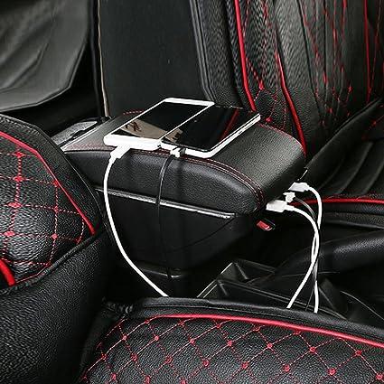 Maiqiken Accoudoir Central Console Centrale pour C4 2008-2011 Accoudoir rembourr/é en Cuir /Épaississement de Luxe 7 USB Grand Espace de Rangement /à l/'int/érieur Auto Appuie-Bras V/éhicule Noir