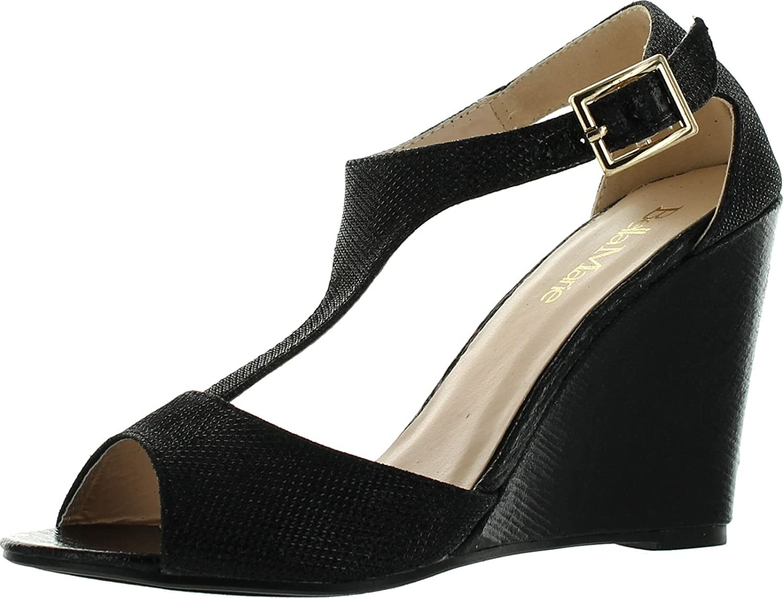 Bella Marie Soho-13 Womens Buckle T-Strap Shinny Glitters Peep Toe Wedge Sandal B00SLYAPC0 8.5 B(M) US|Black