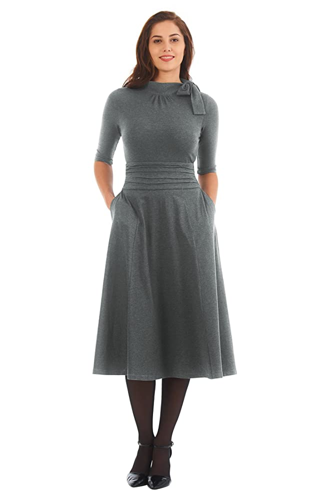 1930s Style Fashion Dresses eShakti Womens Tie neck pleat waist cotton knit dress $54.95 AT vintagedancer.com