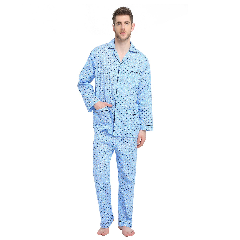 GLOBAL Mens Pajamas Set, 100% Cotton Woven Drawstring Sleepwear Set with Top and Pants/Bottoms