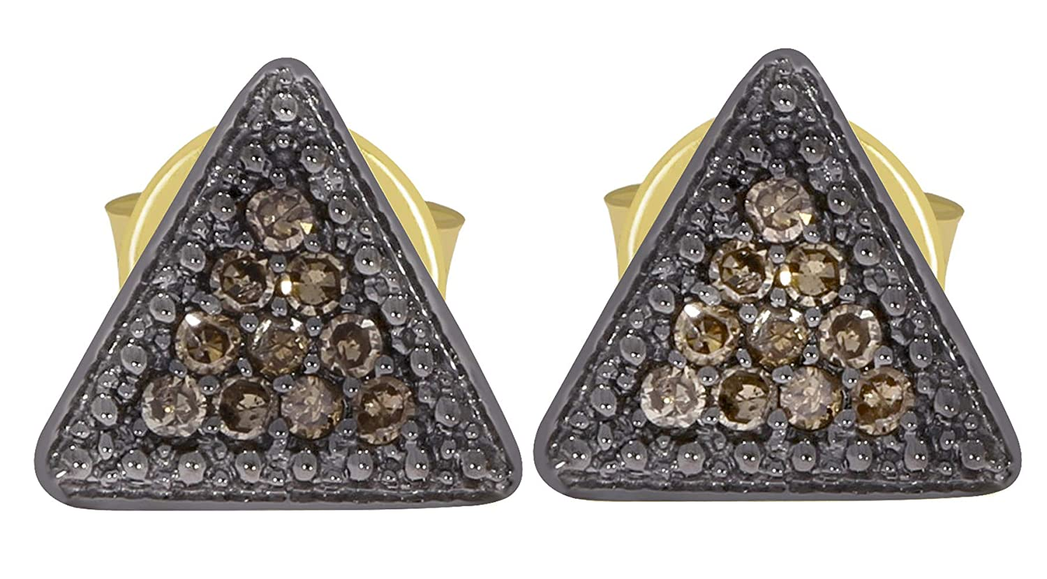 Prism Jewel Natural Brown Diamond Triangle Shaped Push Back Stud Earrings 10k Yellow Gold