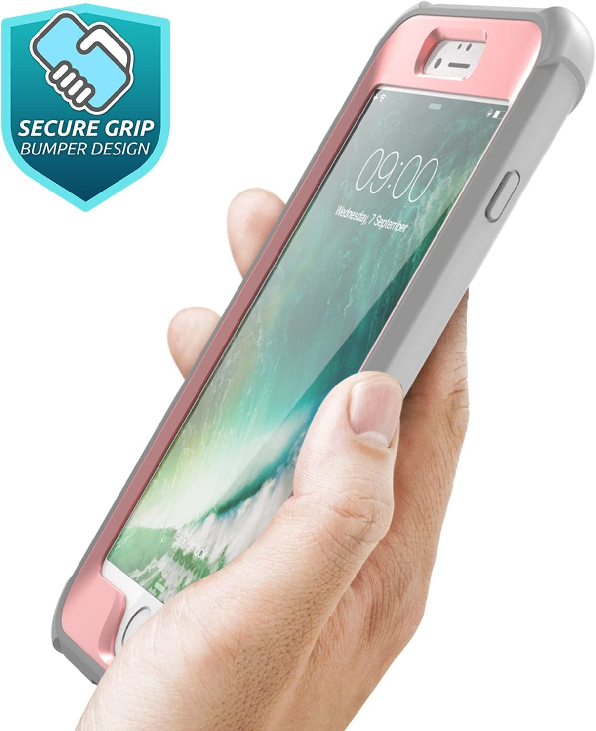 Ares Full-Body Rugged Clear Bumper Case with Built-in Screen Protector i-Blason Case for iPhone 8 Plus//iPhone 7 Plus, Black//Blue