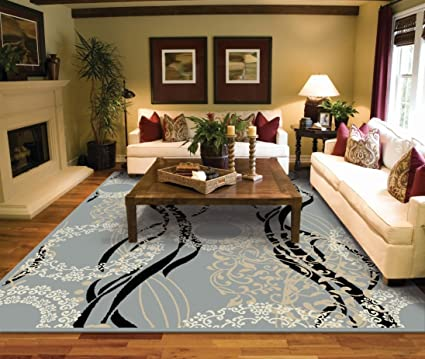 Amazoncom Large Rugs For Living Room 8x10 Contemporary Gray