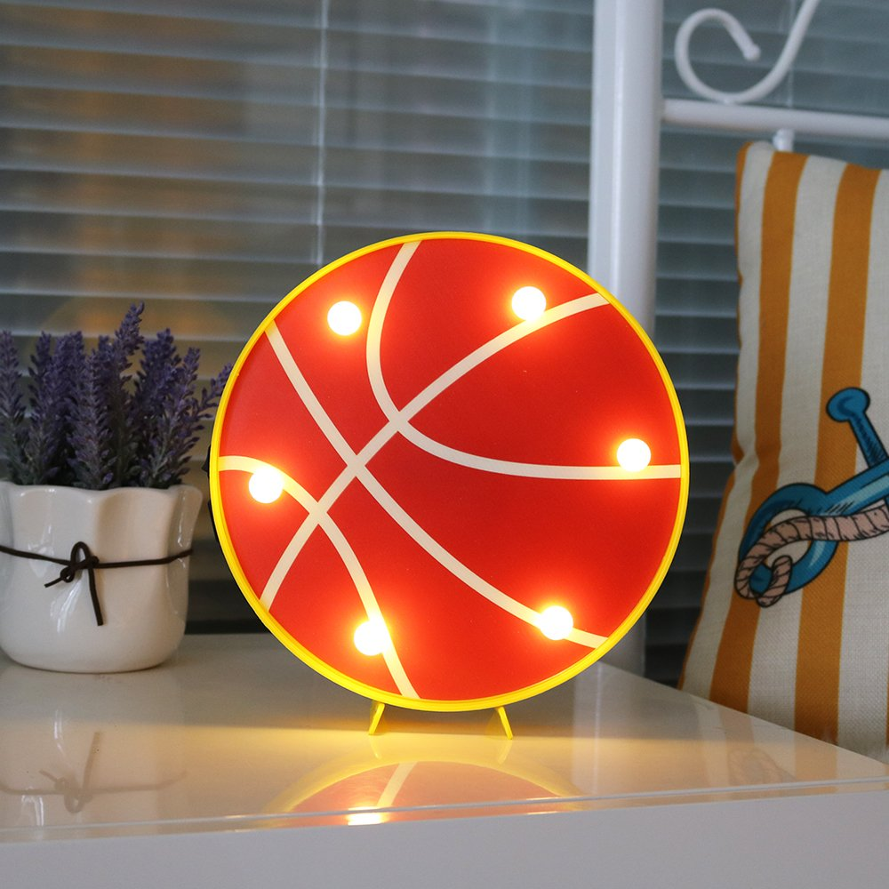 DELICORE Basketball Led marquee light decorative motif Baloncesto night lamp battery&USB operated table light best gift choice for kids home holiday party supply (Basketball)
