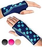 Wrist Support Sleeves by SPARTHOS (Pair) – Compression Wrist Brace for Men and Women - Carpal Tunnel Tendonitis Arthritis Pain Relief Wrist Pain Strains Sprains Bursitis Improve Circulation (Black-L)