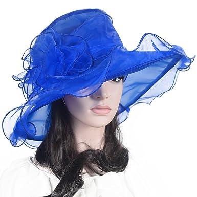 f8e83f23264 Lady Kentucky Derby Hat Church Dess Wedding Hat Sheer Wide Brim Hat (blue)