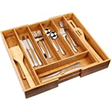 Cutlery Tray with 7 Compartments Flatware Organizer Used for Drawer Organizer Divider Bamboo Holder for Utensils…