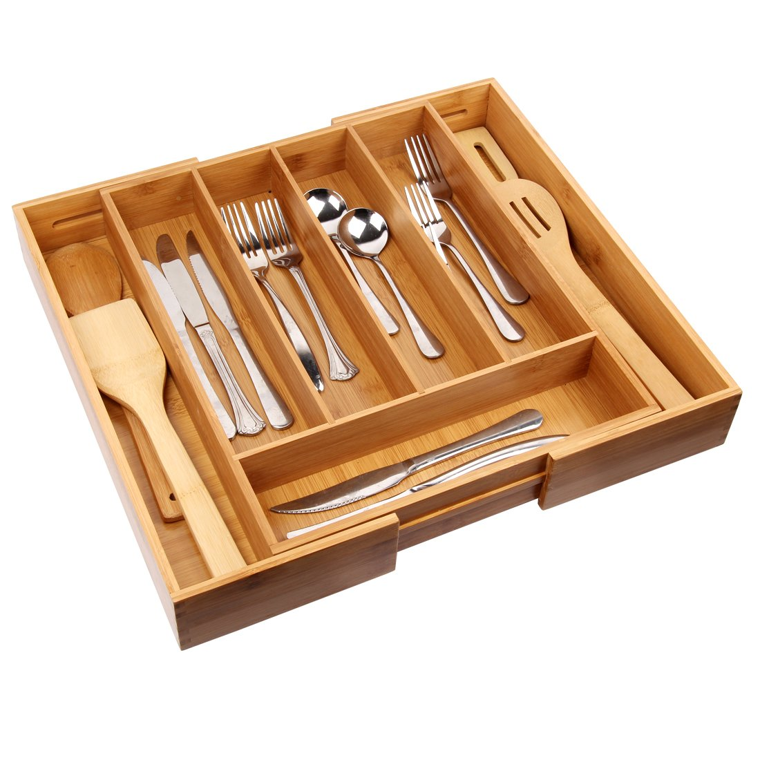 Cutlery Tray with 7 Compartments Flatware Organizer Used for Drawer Organizer and Divider,Perfect Bamboo Holder for Utensils,Flatware,Silverware by Artmeer by Artmeer