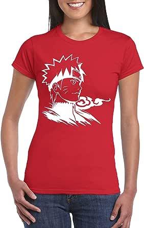 Red Female Gildan Short Sleeve T-Shirt - Naruto Bust design