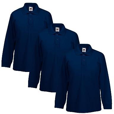 738fd450e 3 PACK Fruit Of The Loom Children's LONG SLEEVE 65/35 Polo Shirt School  Uniform