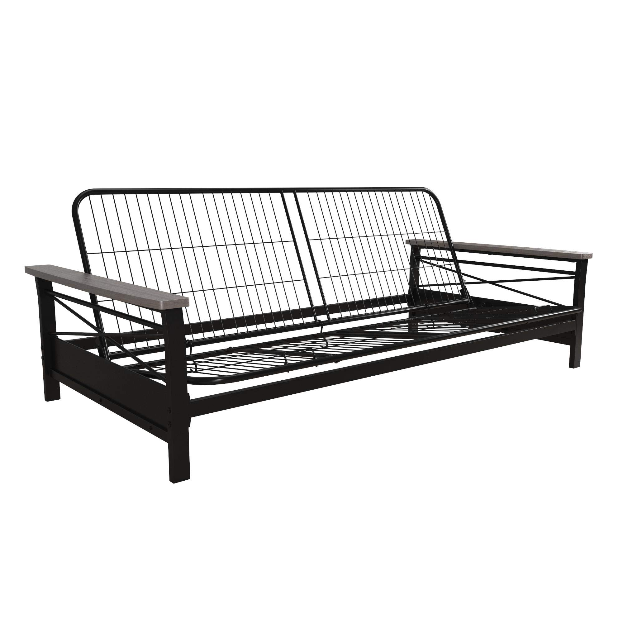 DHP Nadine Metal Futon Frame with Grey Wood Armrests, Full Size, Mattress Not Included by DHP
