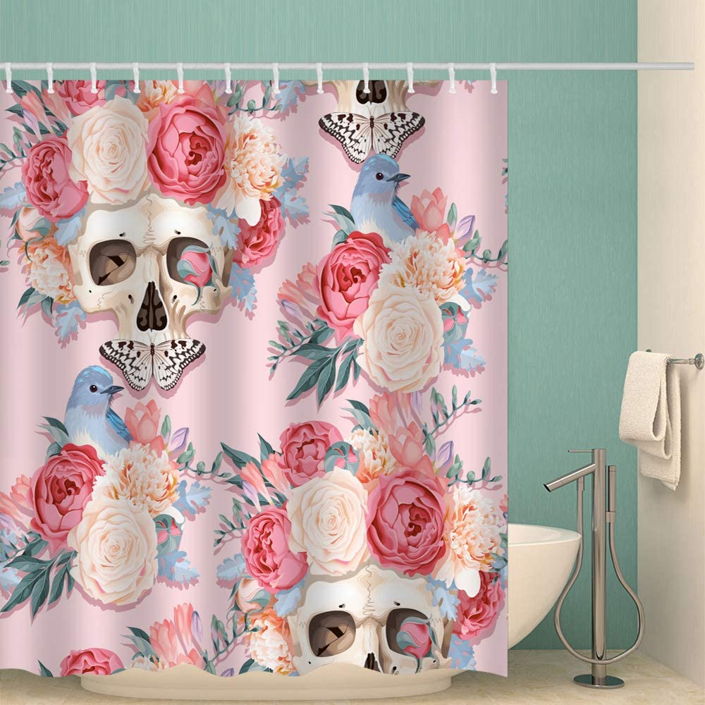 Fabric Shower Curtain Beautiful Flowers with Skull Butterfly Pink Yellow Flowers Blue Birds Home Decor Machine Washable Shower Curtain Set Bath Room Decor Bath Curtain 72 x 72 inches