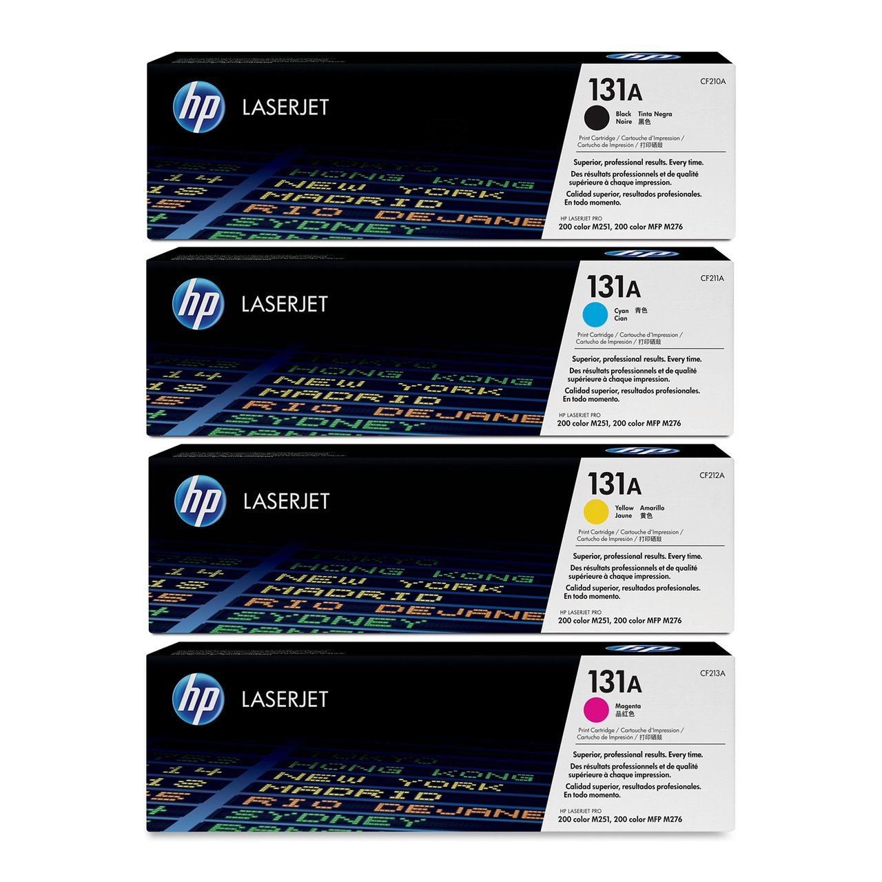 Supply Spot offers a SET of Genuine HP (131A) CF210A,CF211A,CF212A,CF213A Toner Cartridge for Laserjet Pro M251 M276 Printers (Black/Cyan/Magenta/Yellow)