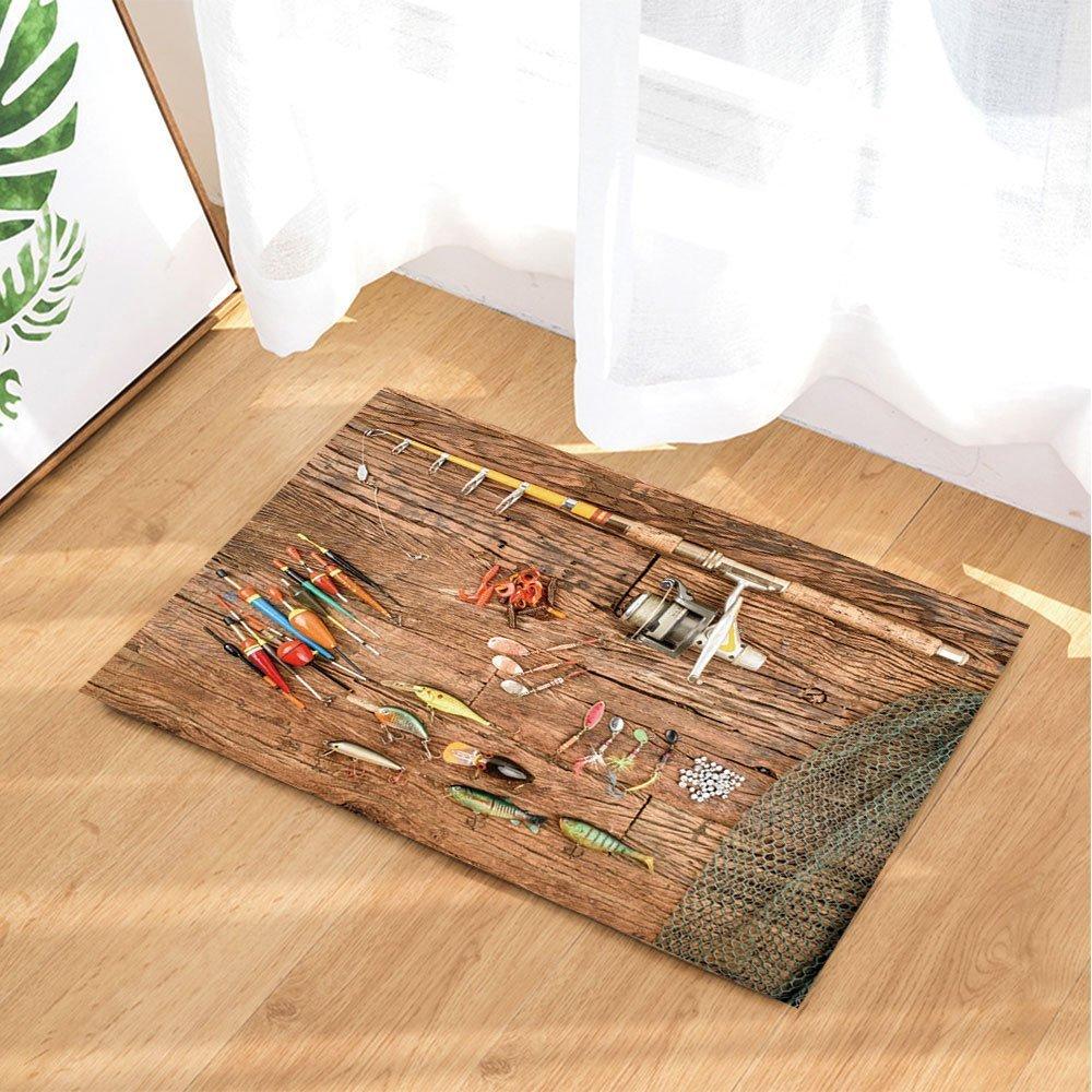 Nautical Fishing Bath Rugs Fish Rod Non Slip Doormat Floor