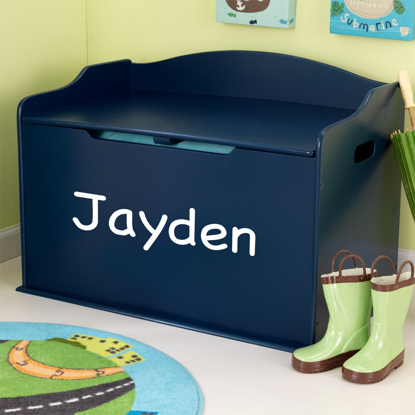 Personalized Modern Touch Toy Box - Blueberry with Custom Font Choices … by DIBSIES Personalization Station