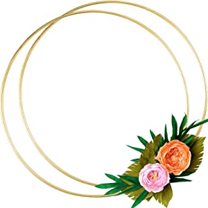2 Pack 14 Inch Large Metal Floral Hoop Wreath Macrame Gold Hoop Rings for Making Wedding Wreath Decor and DIY Dream Catcher Wall Hanging Crafts