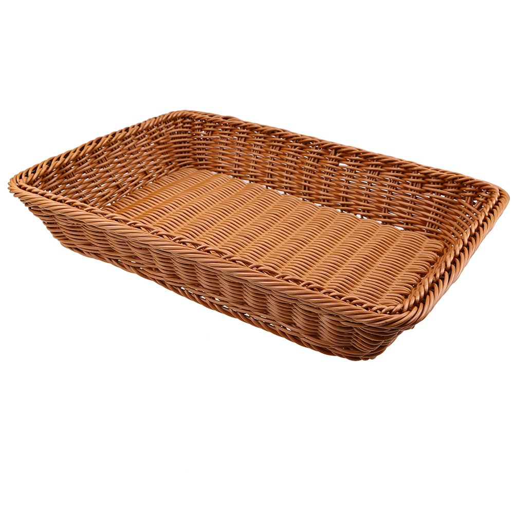 Bread Baskets, WCIC Rattan Rectangle Food Fruit Baskets Handmade Baskets Kitchen Vegetables Bins Bathroom Storage Container 15.75''X11.81''X3.15''