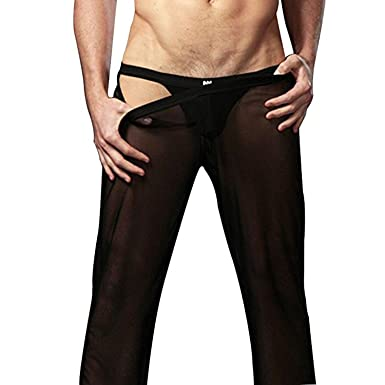 28a5f551328 ZILucky Mens Sexy Mesh Transparent Home Lounge Sheer Pants Nightwear  Underwear