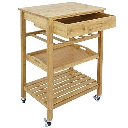 Amazon Com Smartxchoices Small Bamboo Rolling Kitchen Cart Island