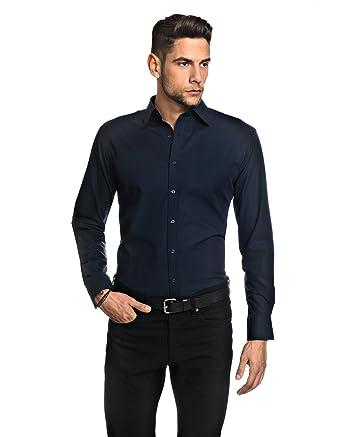 Embraer Herren-Hemd Slim-Fit tailliert bügelfrei 100% Baumwolle Uni-Farben  - Männer lang-arm Hemden für Anzug mit Krawatte Business Hochzeit Freizeit  oder ... 2c825b8faf