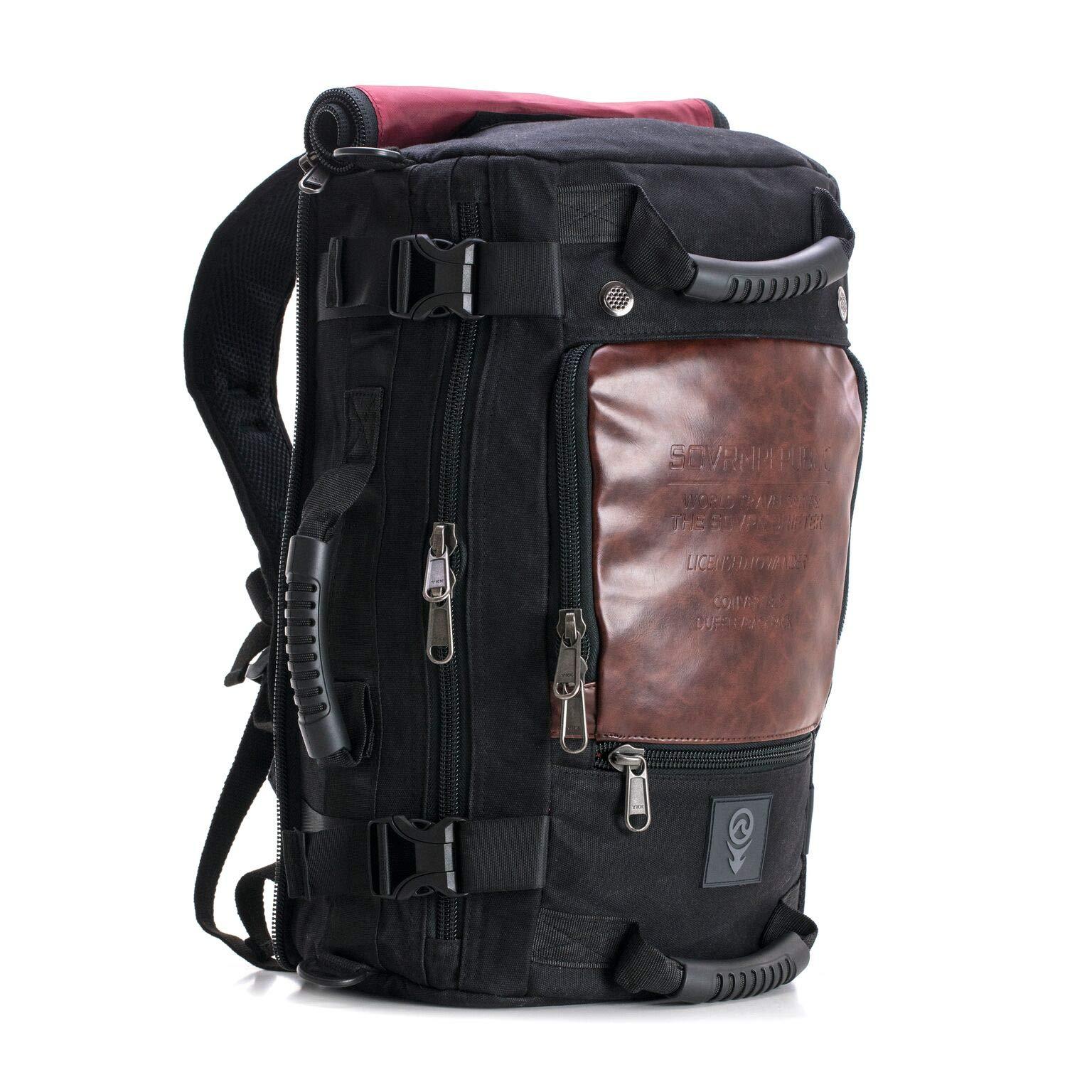 SOVRN Republic Canvas Material Duffel Bag Backpack 30L Sovrn Drifter, Black