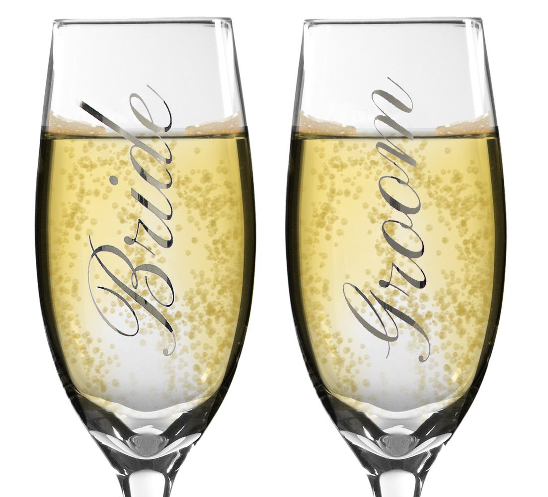 Amazon.com | Bride and Groom Champagne Glasses - Set of 2 Elegant ...