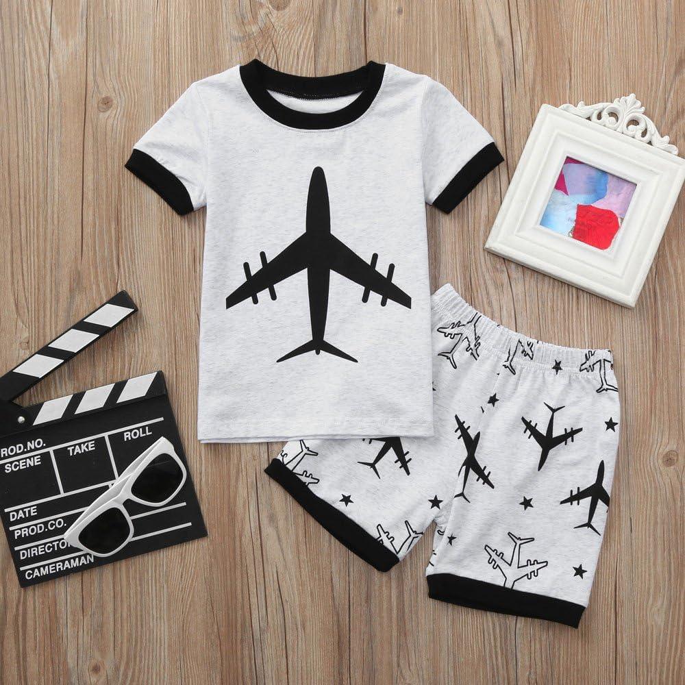 Cartoon Tops T Shirt Fineser Baby Boys Summer Outfits Set Shorts,2-7T